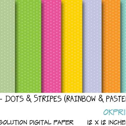 Set 011 - Dots and stripes in rainb..