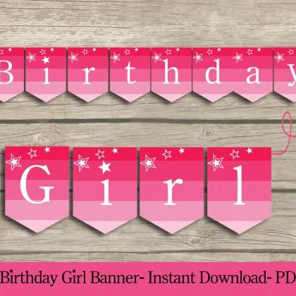 Birthday Girl PARTY PRINTABLE Banne..