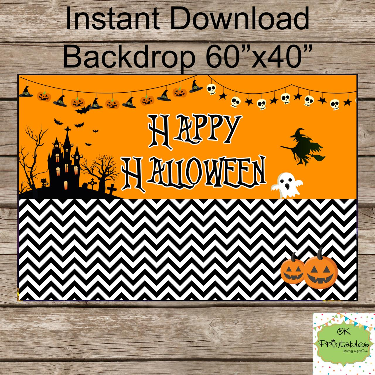 Happy Halloween Backdrop - Dessert table backdrop- Halloween Party- Halloween party School- Halloween Sign