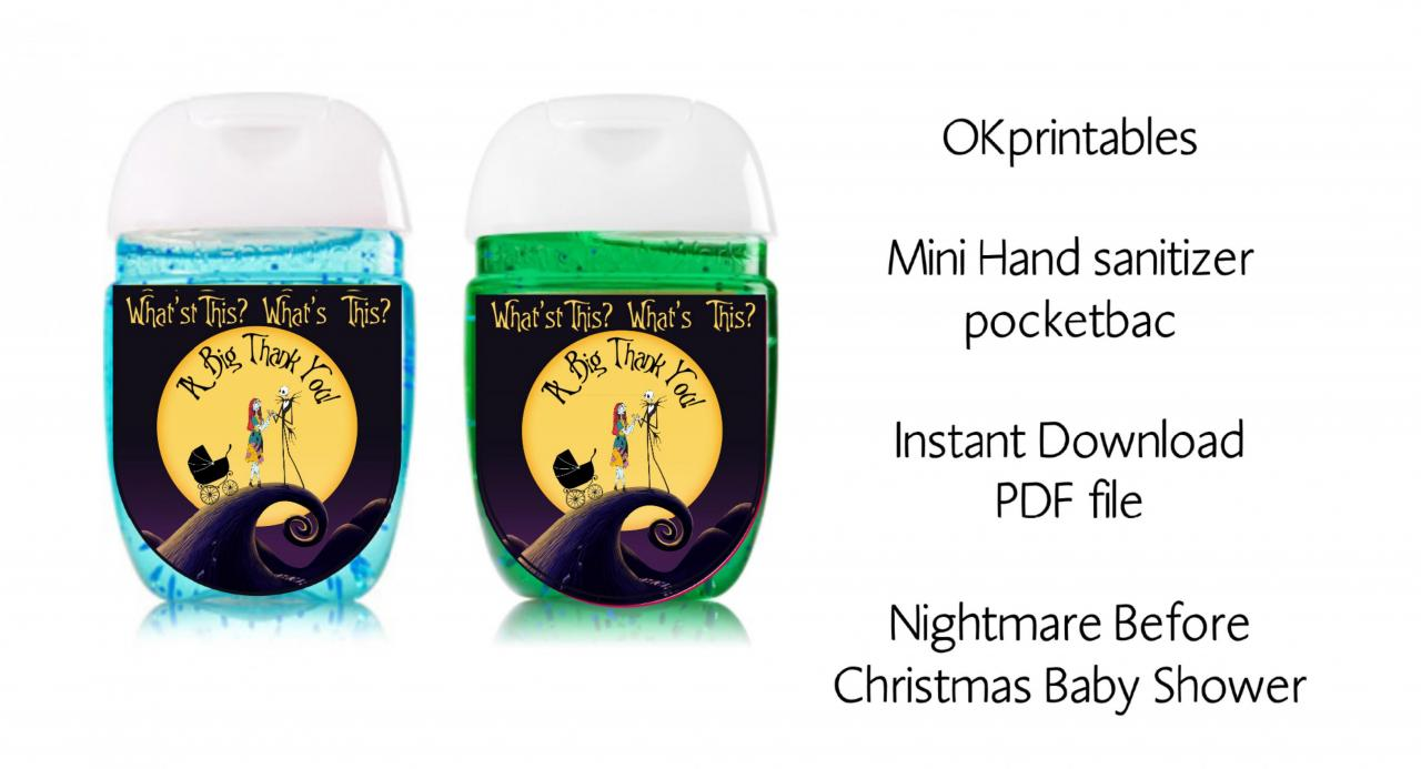 Nightmare before christmas Baby shower sanitizer labels, Baby shower Hand hand sanitizer label 1oz, party favors, pdf - Instant download