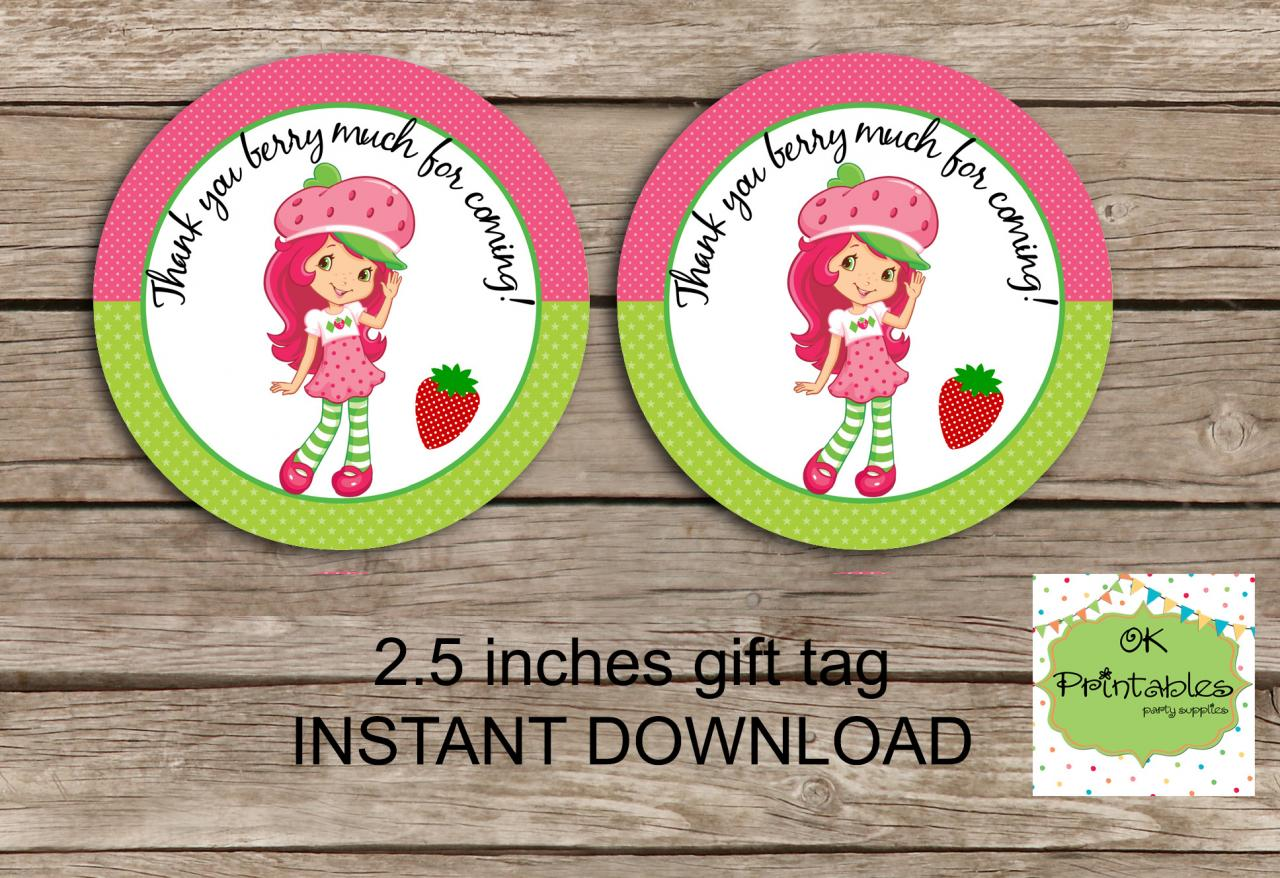 Strawberry Shortcake favor tag - Instant Download 2.5 inches tag, Printable tag - Strawberry Shortcake tag
