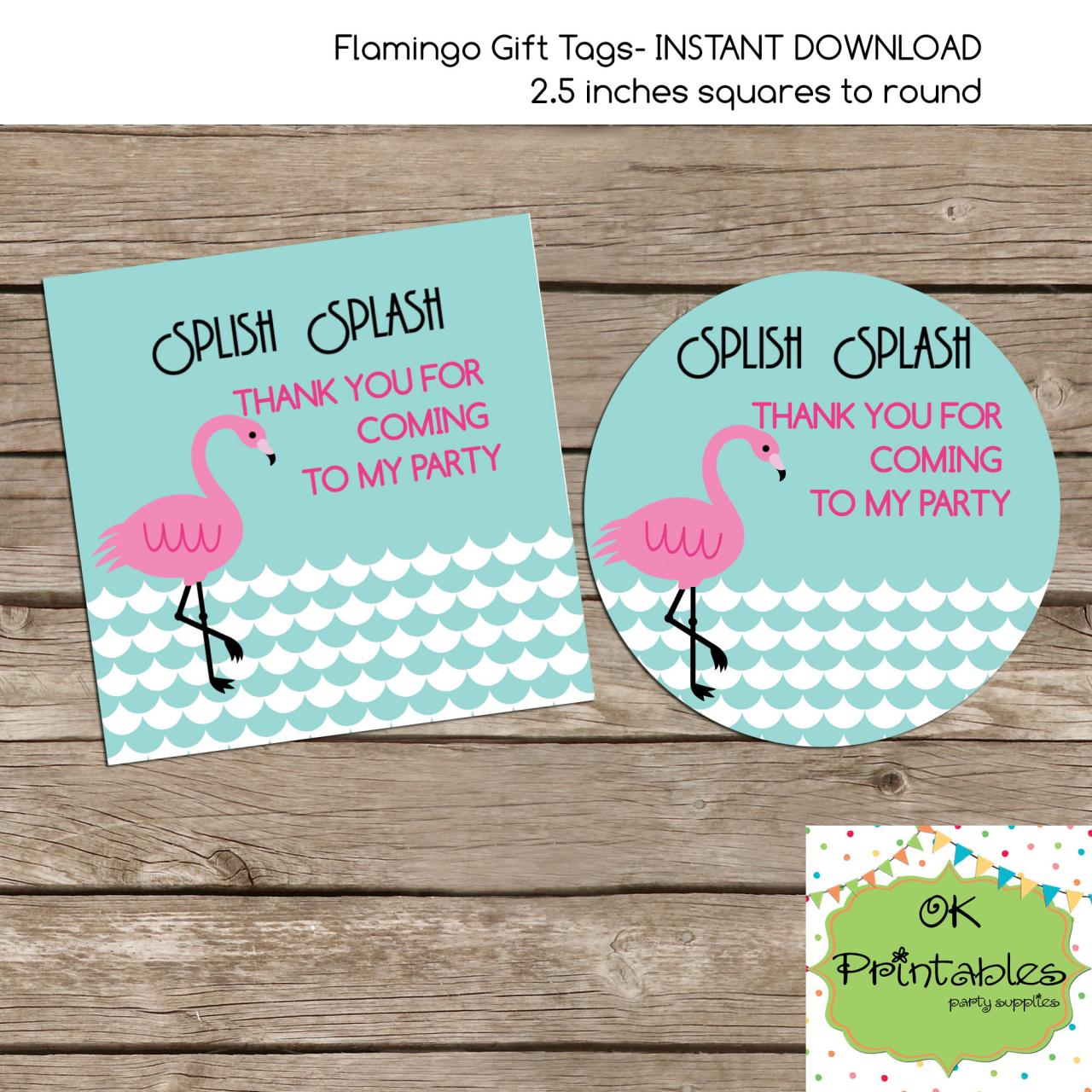 Flamingo favor tag - Instant Download 2.5 inches tag, Printable tag - Flamingo tag