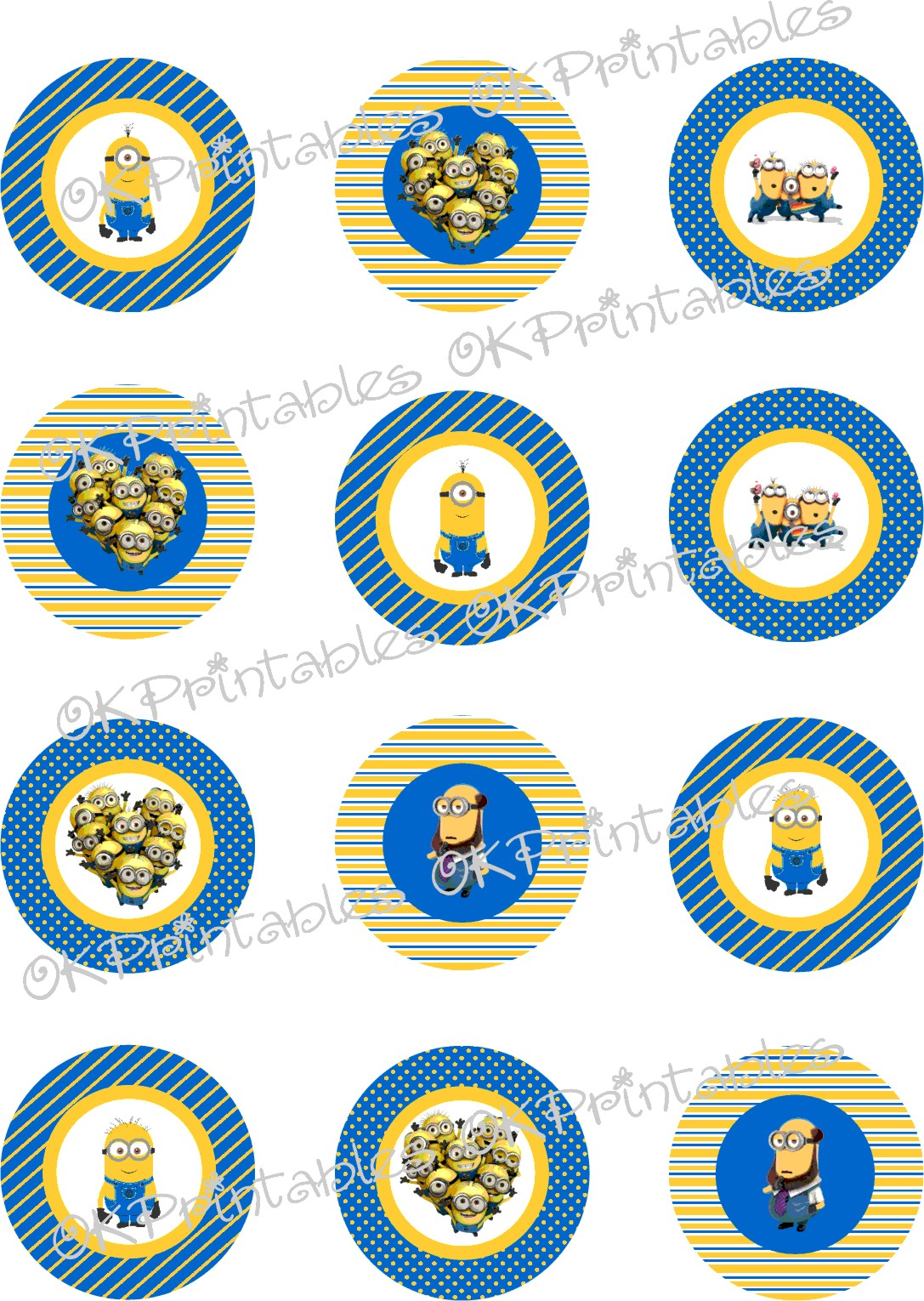 image regarding Minion Symbol Printable named Minions (Despicable Me) Cupcake Toppers, Printable, Minion Circles, Again In the direction of Higher education Labels Far too Accessible