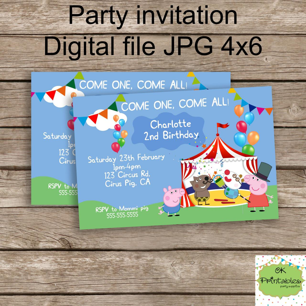 Peppa Pig And George Circus Invite- Peppa Birthday - Personalized ...