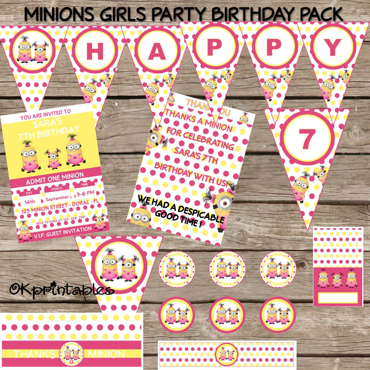 Minion Birthday Party Pack - Minion Girl Birthday - Personalized Printable Girl Minion pack- Minion Party diy - Girl Party Minion