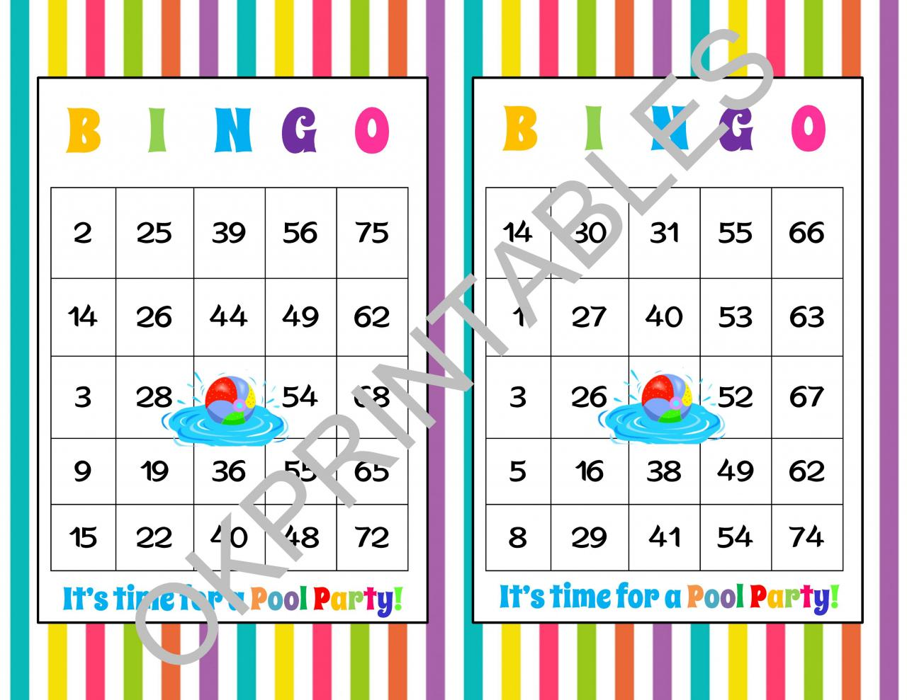 30 It\'s Time For A Pool Party! Bingo Cards - Printable Pool Party ...