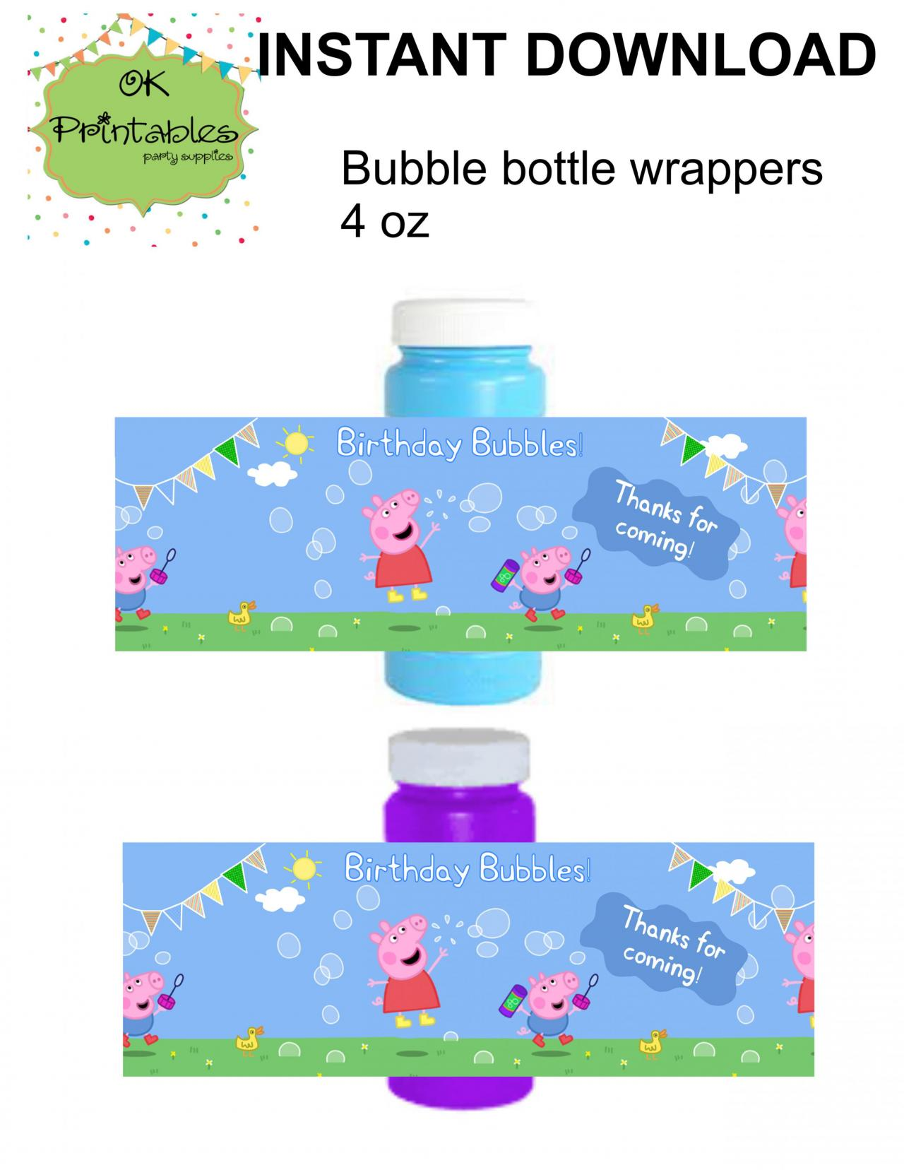 Peppa pig and George pig Bubble bottle label- Digital file - Peppa pig Party Label - Party Favor - Birthday Bubbles!