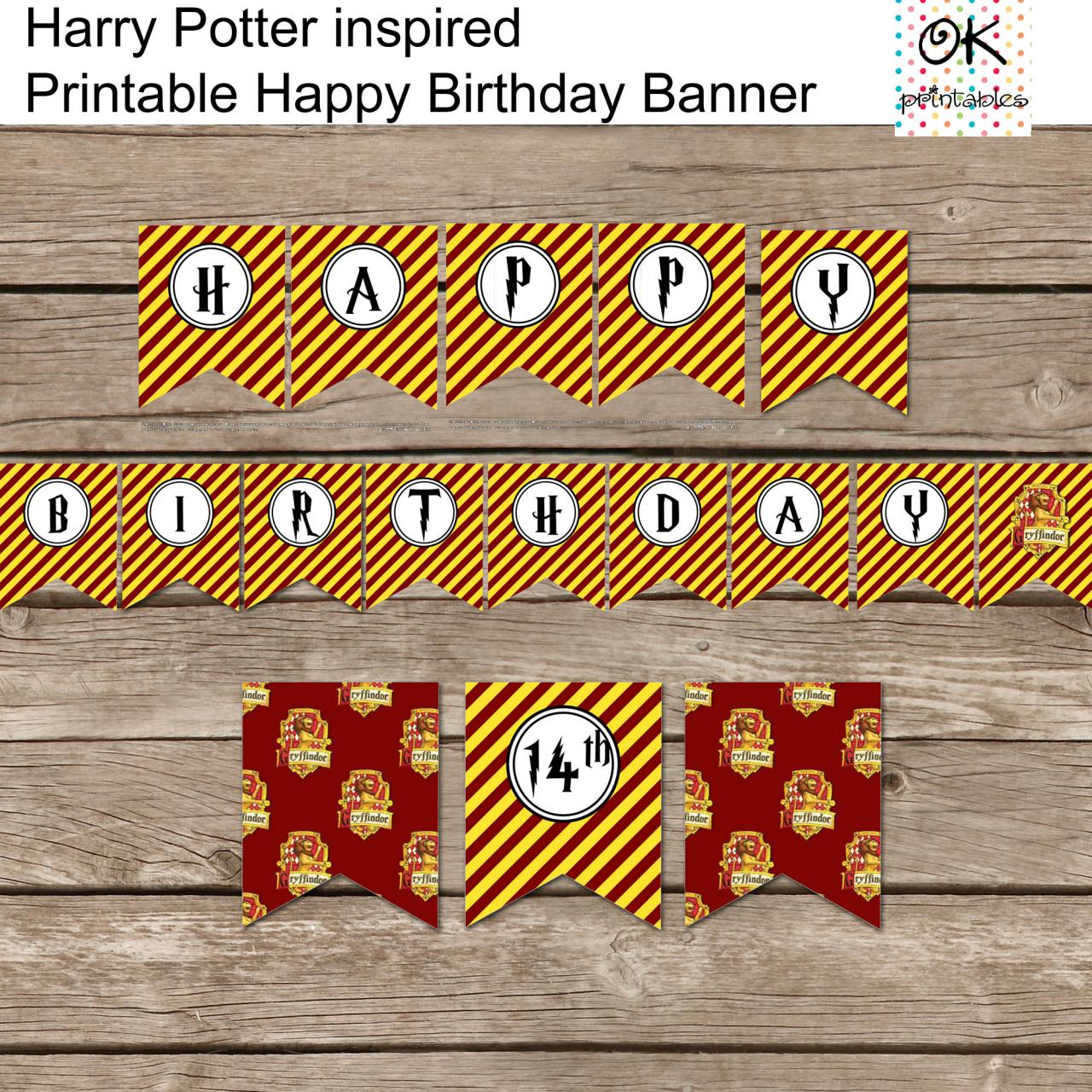 Harry Potter Inspired Happy Birthday Banner DIY Harry Potter