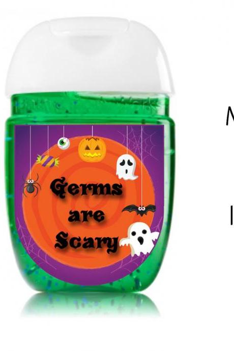 Halloween hand sanitizer label, shower party favors - Halloween Class Parties favor