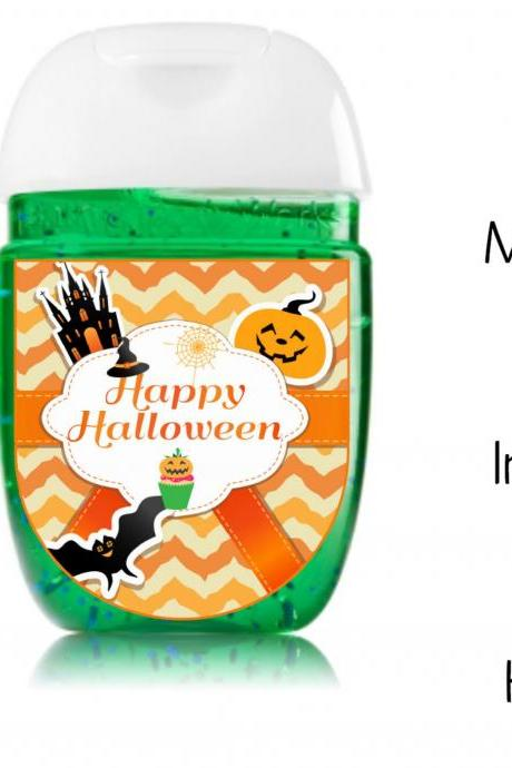 Halloween hand sanitizer label, shower party favors, INSTANT DOWNLOAD - Halloween Class Parties favor- Happy Halloween
