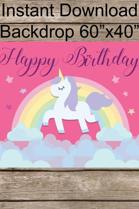 Magical Unicorn Birthday / Unicorn Backdrop - Happy Birthday Unicorn banner- Photo Banner- Digital