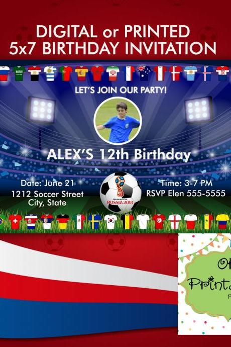 FIFA World Cup Russia 2018 Birthday inspired party invitation -Digital