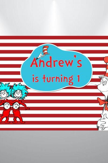 Cat in the hat- Dr Seuss Birthday Backdrop- Digital Backdrop