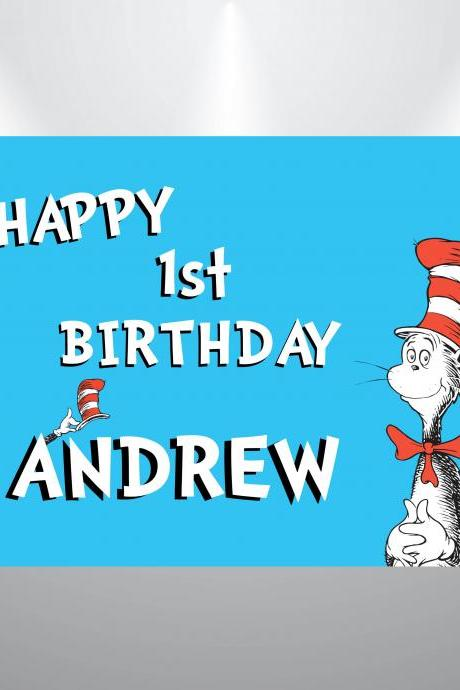Cat in the hat- Dr Seuss Birthday Backdrop- Digital Backdrop Design 2