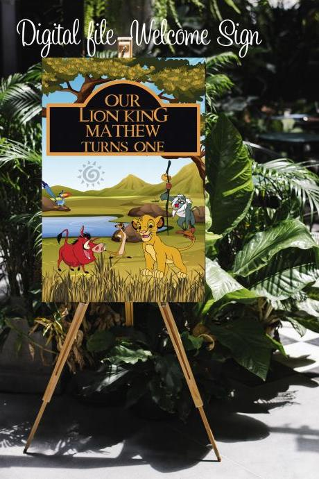 Welcome Sign- Lion King Birthday Party- Custom Sign- SImba Party- Hakuna Matata