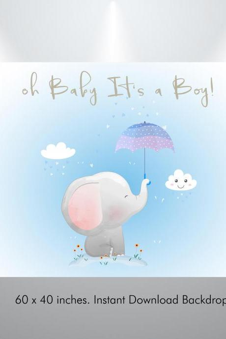 Baby boy Oh! Elephant Baby Shower Backdrop
