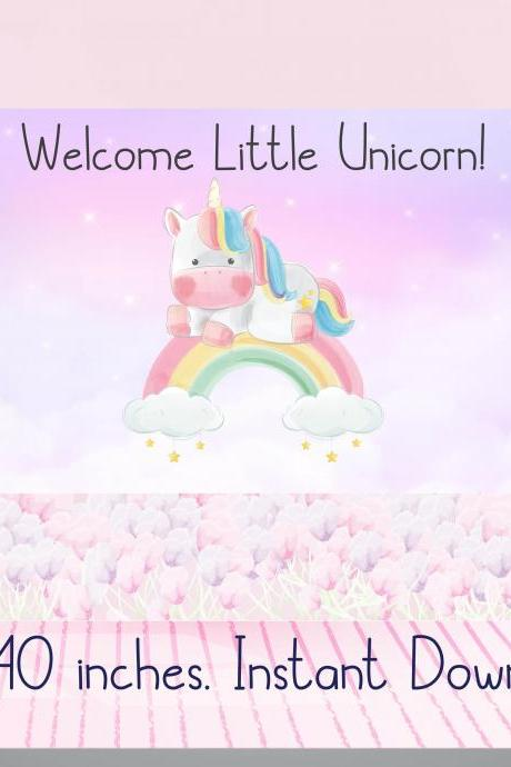 Welcome Little Unicorn Baby SHower Backdrop