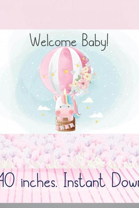 Welcome Baby Cute Unicorn Hot air Balloon Baby SHower Backdrop