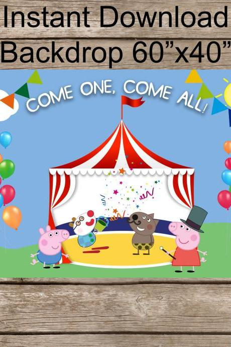 Peppa pig Circus Birthday Backdrop
