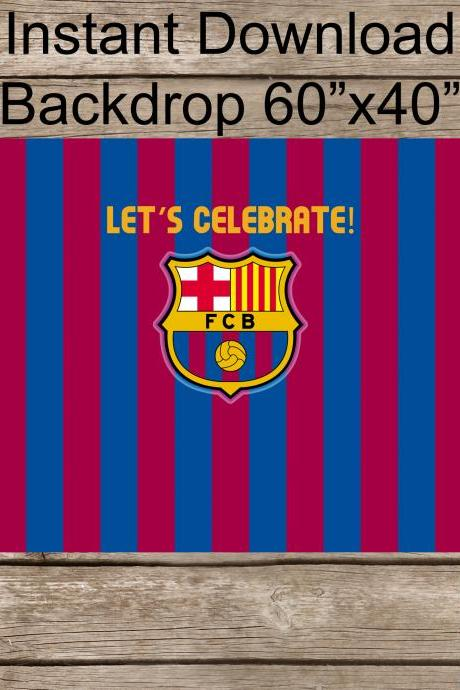 FC Barca Sports Futbol Birthday- Soccer Backdrop- Barcelona