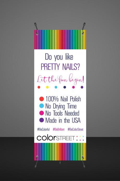 DIGITAL Color Street Nail Stylist Banner -Product display - Vendor Show- Instant download- Colorful Stripes