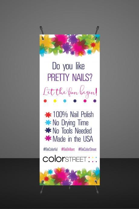 DIGITAL Color Street Nail Stylist Banner -Product display - Vendor Show- Instant download- Colorful Flowerus