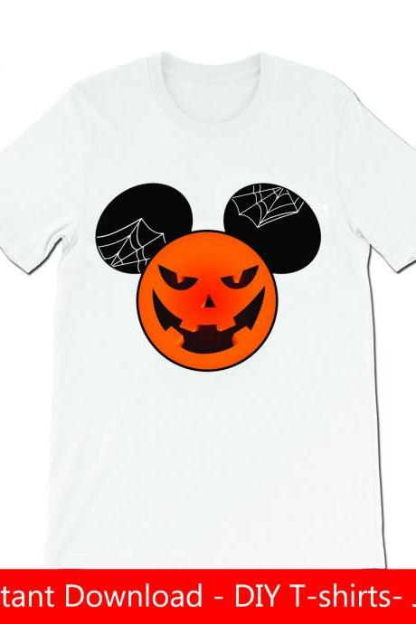 Mickey ears pumpkin Halloween DIY Tshirt- Iron on- JPG files