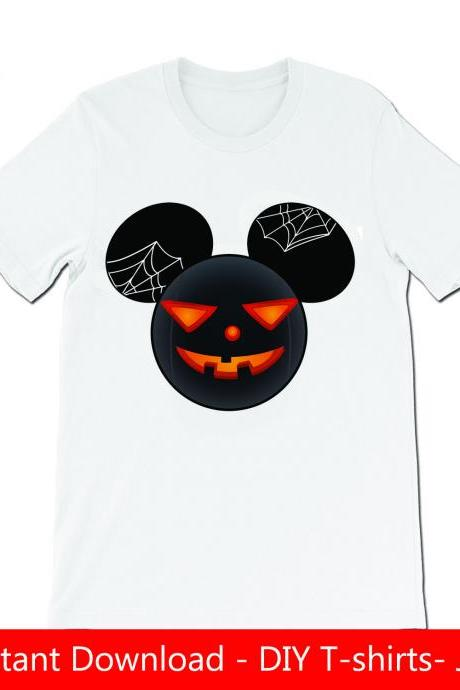 Mickey ears pumpkin Halloween D2 DIY Tshirt- Iron on- JPG files