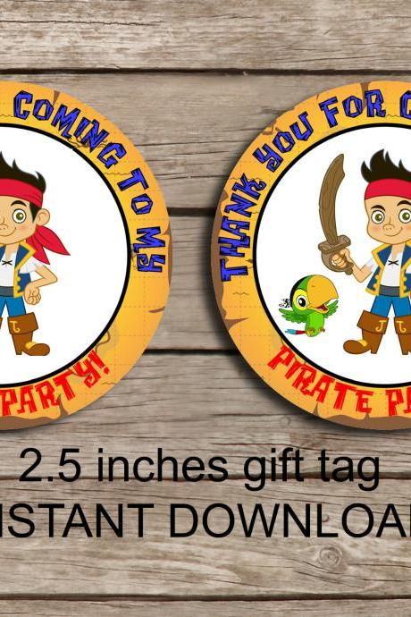 Jack Pirates favor tag - Instant Download 2.5 inches tag, Printable tag - Pirates favor tag Tag