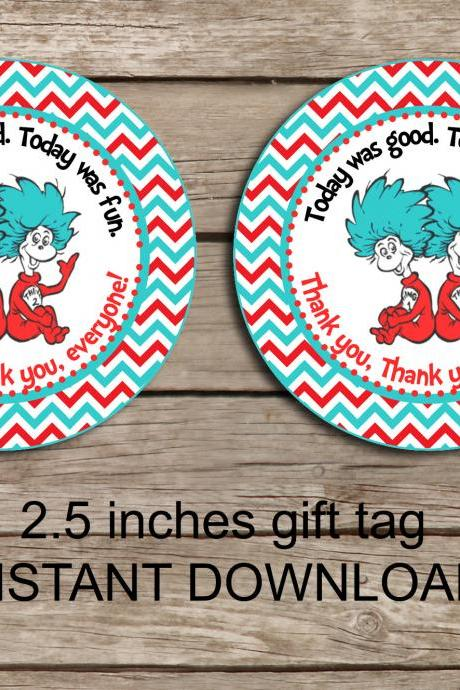 Dr Seuss favor tag - Instant Download 2.5 inches tag, Printable tag - Thing 1 Thing 2 favor - Dr Seuss Tag - Thing 1 tag