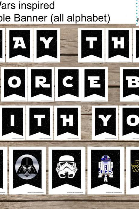 All Alphabet Star Wars Banner Printable Set- All occassion- All Alphabeth, Digital File