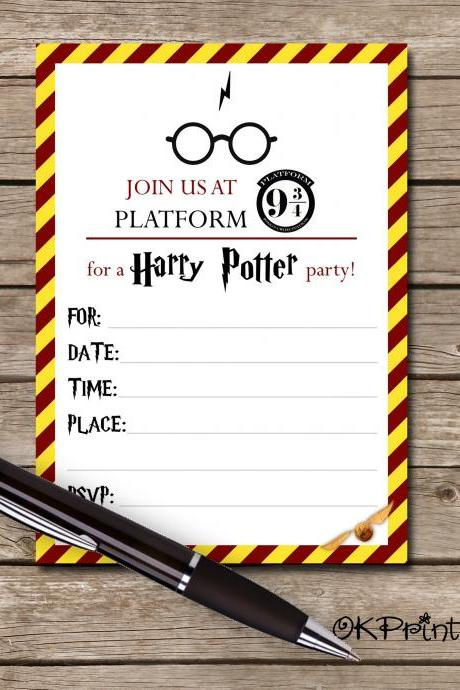 Harry Potter Invitation- Printable invite Harry Potter - HP Party invite- 5x7 invite
