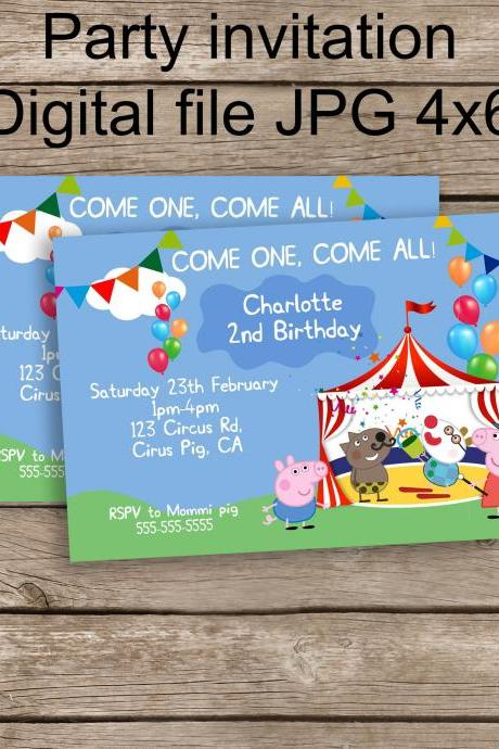 Peppa Pig and George Circus Invite- Peppa Birthday - Personalized Printable Peppa Pig invite- Peppa Party diy - Circus birthday Peppa George