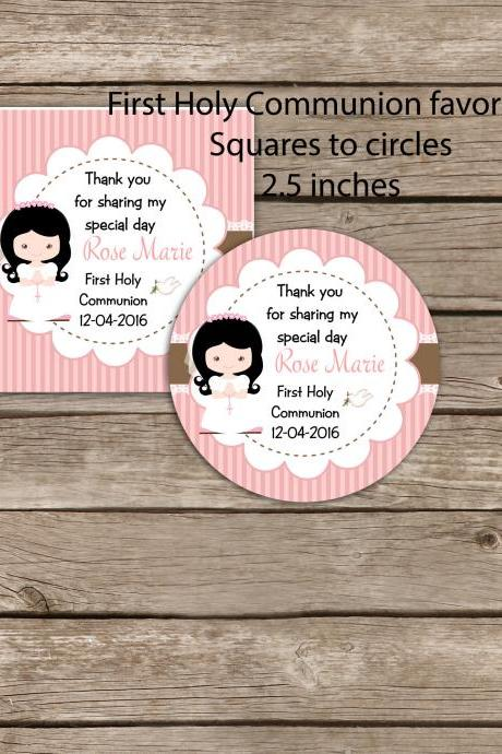First Communion printable favor tags - Digital file - Square to circles 2.5 inches tag- 1st Communion Invitation -Primera comunion