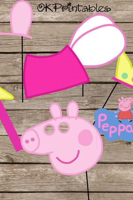 Peppa Pig Party Photo Booth Props / Peppa pig party / Peppa Pig Fairy Princess Party Photo Props / digital file