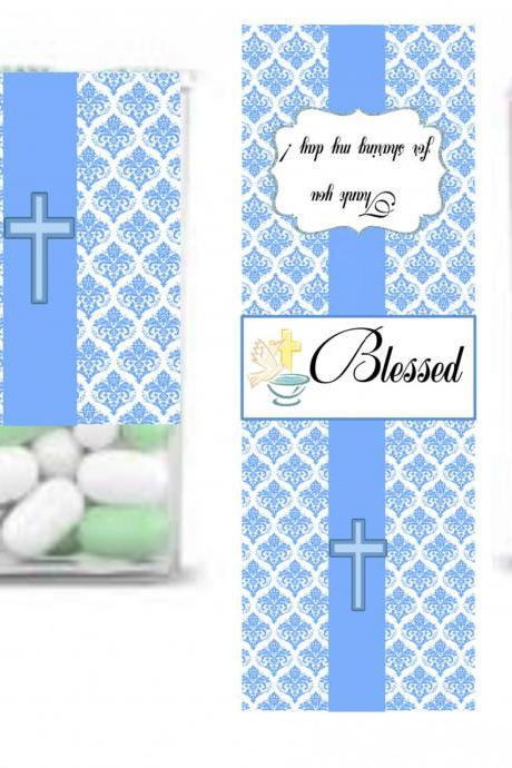 TIC TAC Label, Baptism boy favor Party Tic Tac Wrapper, Baptism boy Tic Tac Label, DIY, Printable- Tic Tac favor label