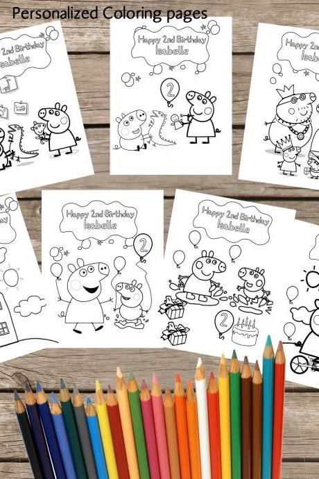 7 Personalized Peppa Pig Coloring pages - Digital- Printable- Children Birthday Souvenirs -Peppa Pig Birthday Coloring Pages