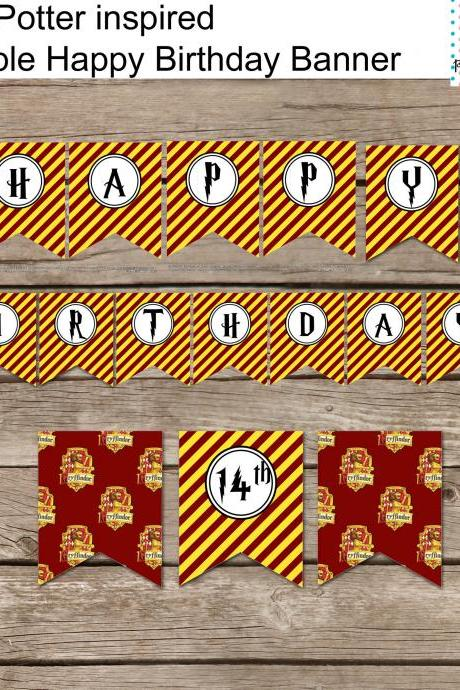 Harry Potter Inspired Happy Birthday Banner / DIY Harry Potter Style Party Banner Printable /
