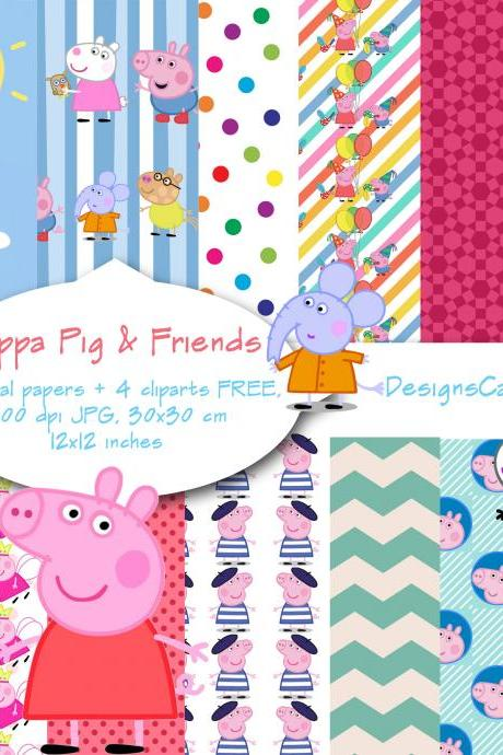 Peppa Pig inspired digital paper,Peppa Pig clipart, scrapbook, background, Digital Paper, Birthday Party Theme, Invitations. P&C use