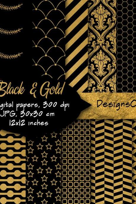 Black & Gold Patterns, Digital Background, Scrapbook Paper, Printable Paper, Web Design. personal and commercial use.