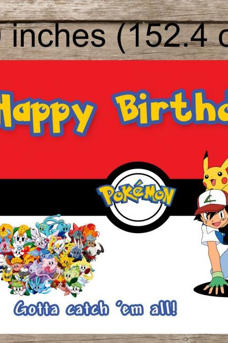 Pokemon backdrop Printable, digital file- POkemon Happy Birthday -