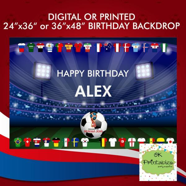Happy Birthday Backdrop- World Cup Russia 2018 24x36