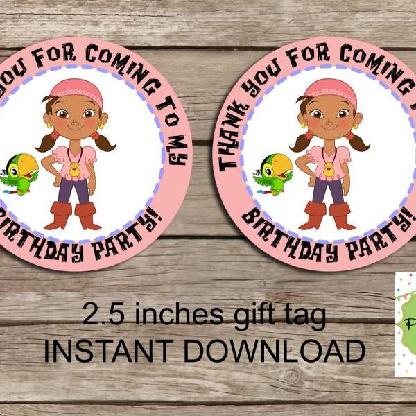 Izzy Pirates favor tag - Instant Download 2.5 inches tag, Printable tag - Pirates favor tag Tag