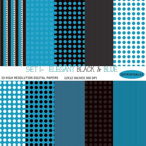 Set 001 - Elegant Digital Paper, Geometric Pattern, Geometric Digital Background, Scrapbook Paper, Printable Paper, Web Design, Black, Blue