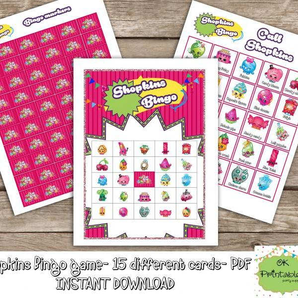 Shopkins Bingo game (include 15 different cards)- Shopkins printable bingo -Shopkins birthday party -Shopkins favor - Shopkins game party