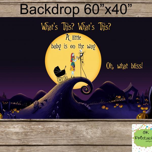 Nightmare before Christmas BABY SHOWER Backdrop - Digital file- Dessert table backdrop