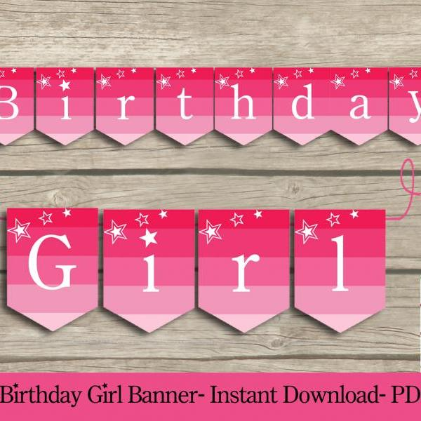 Birthday Girl PARTY PRINTABLE Banner - American Girl party banner - PDF