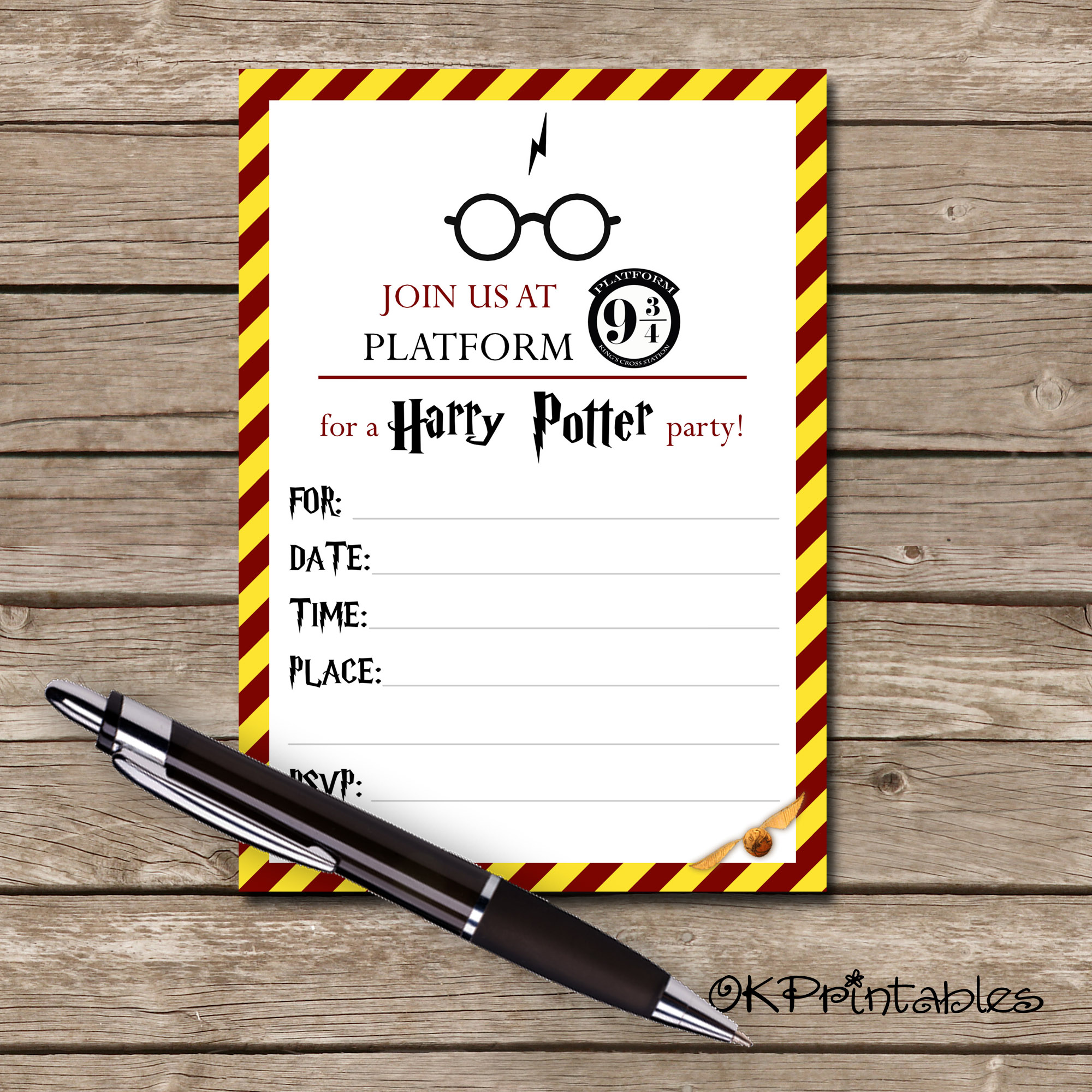 Harry Potter Invitation Printable Invite Harry Potter Hp Party