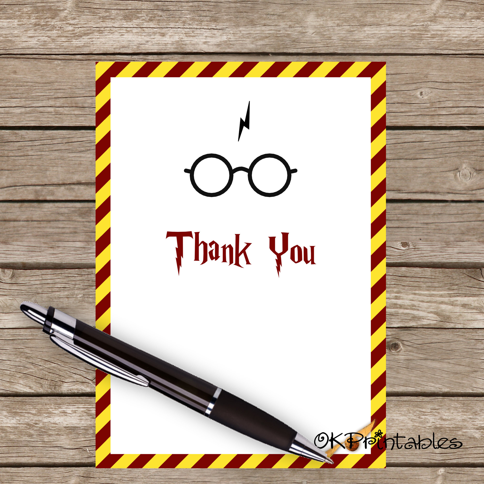 Harry Potter Thank You Card- Printable Thank You Card Harry Potter - HP  Party- HP Thanks