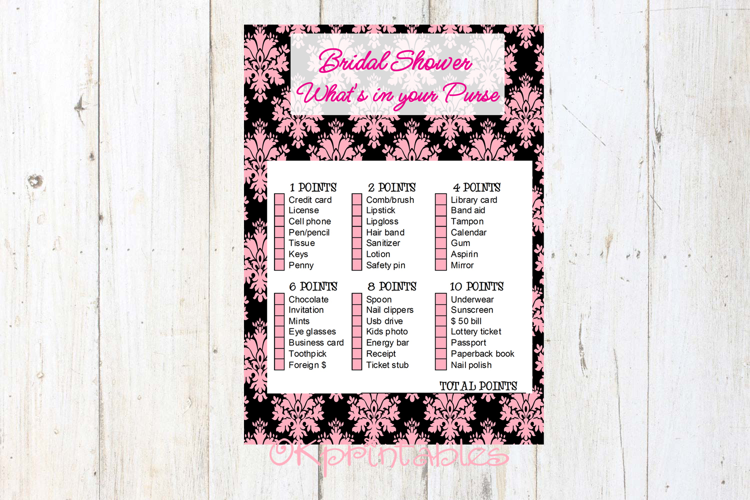 bridal game whats on your purse pink damask black printable diy
